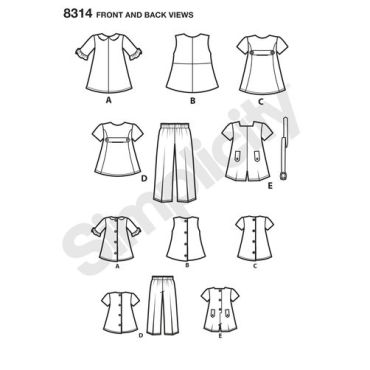 simplicity-doll-clothes-pattern-8314-front-back-view