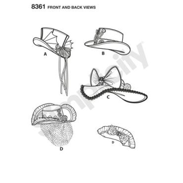 simplicity-costume-hat-pattern-8361-front-back-view