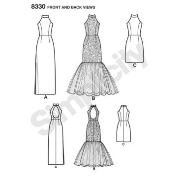 simplicity-gown-mermaid-pattern-8330-front-back-view