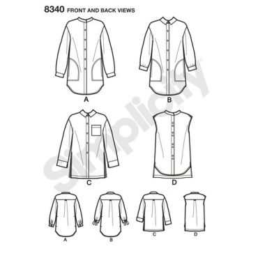 simplicity-long-shirt-pattern-8340-front-back-view