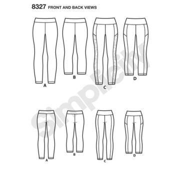 simplicity-plus-legging-pattern-8327-front-back-view