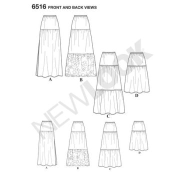 newlook-peasant-skirt-pattern-6516-front-back-view