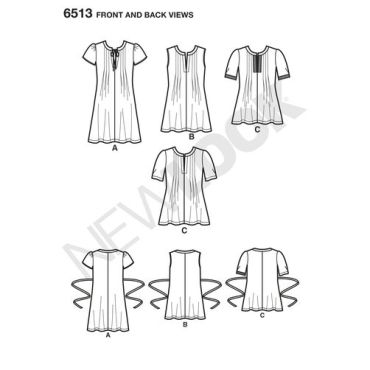 newlook-pleated-top-pattern-6513-front-back-view