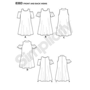 simplicity-dress-cold-shoulder-pattern-8383-front-back-view