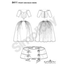 simplicity-outlander-costume-pattern-8411-front-back-view