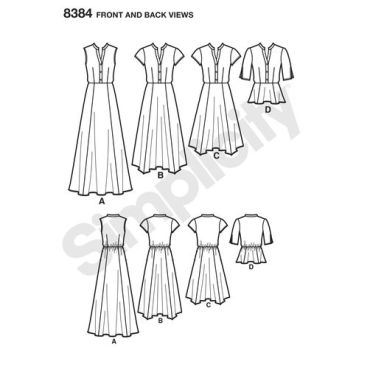simplicity-shirt-dress-pattern-8384-front-back-view