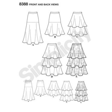 simplicity-tiered-flounce-skirt-pattern-8388-front-back-view