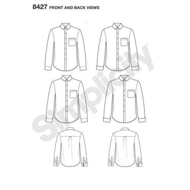 simplicity-fitted-shirt-mimigstyle-mimig-mens-pattern-8427-front-back-view