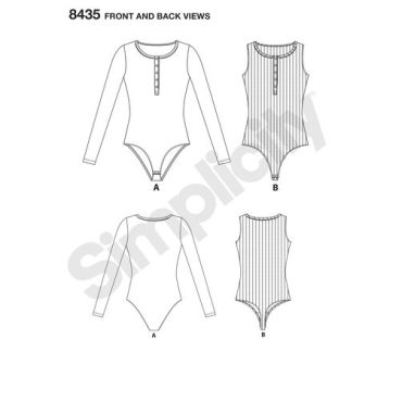 simplicity-henley-bodysuit-pattern-8435-front-back-view
