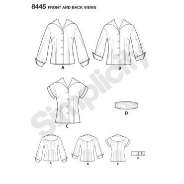 simplicity-vintage-blouse-cummerbund-miss-pattern-8445-front-back-view