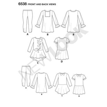 New-Look-dress-leggings-pattern-6538-front-back-view