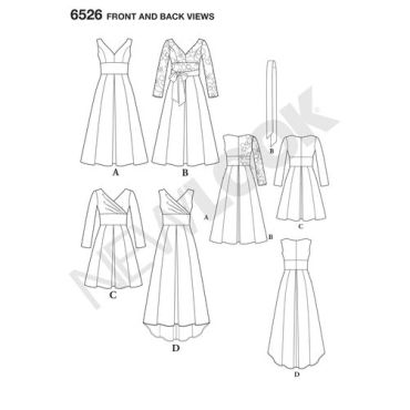 New-Look-drop-shoulder-dress-pattern-6526-front-back-view