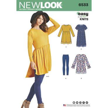 New-Look-leggings-babydoll-dress-pattern-6533-envelope-front