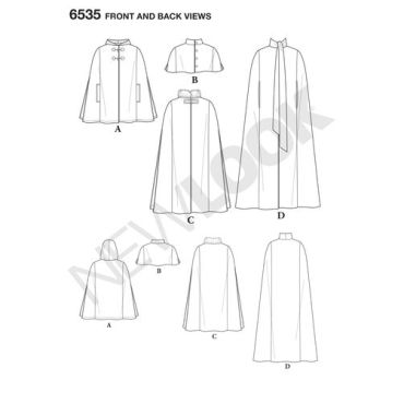 New-Look-long-cape-pattern-6535-front-back-view