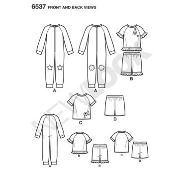 New-Look-onesies-pajamas-pattern-6537-front-back-view
