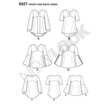 New-Look-tunic-top-pattern-6527-front-back-view