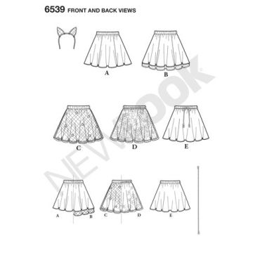 New-Look-tween-skirts-pattern-6539-front-back-view