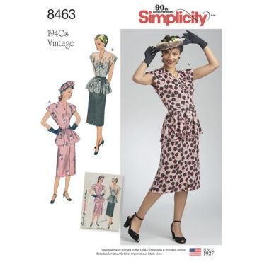 simplicity-1940s-vintage-dress-pattern-8463-envelope-front