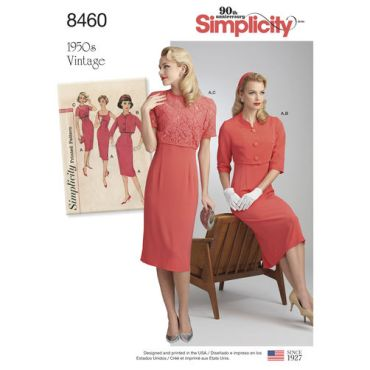 simplicity-1950s-vintage-sheath-dress-jacket-pattern-8460-envelope-front