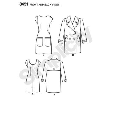 simplicity-belted-coat-pattern-8451-front-back-view