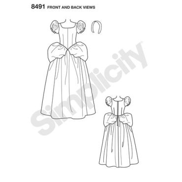 simplicity-cinderella-disney-costume-8491-front-back-view