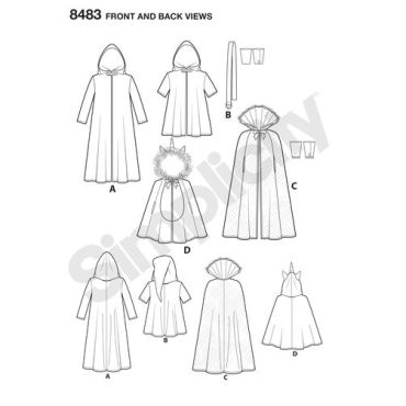 simplicity-costume-cape-pattern-8483-front-back-view