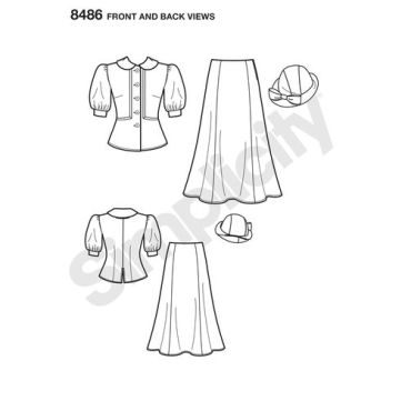 simplicity-dapper-snow-white-costume-pattern-8486-front-back-view