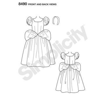 simplicity-disney-cinderella-costume-pattern-8490-front-back-view