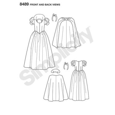 simplicity-disney-snow-white-costume-pattern-8489-front-back-view
