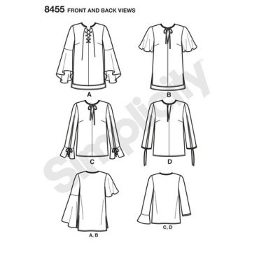 simplicity-peasant-blouse-pattern-8455-front-back-view