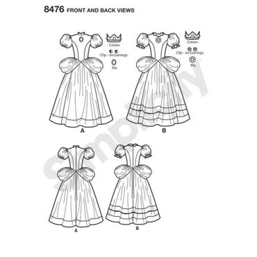 simplicity-princess-peach-pattern-8476-front-back-view