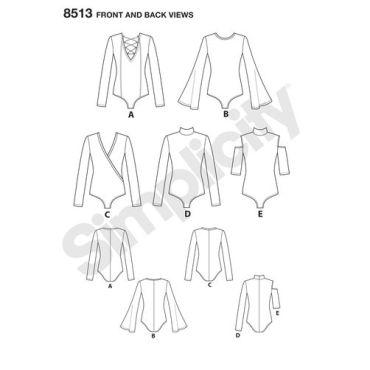 simplicity-bodysuit-pattern-8513-front-back-view