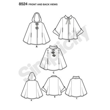 simplicity-child-cape-pattern-8524-front-back-view