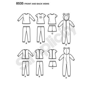 simplicity-doll-pajamas-pattern-8535-front-back-view