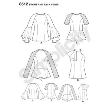 simplicity-peplum-top-pattern-8512-front-back-view