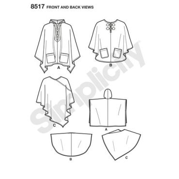 simplicity-poncho-pattern-8517-front-back-view