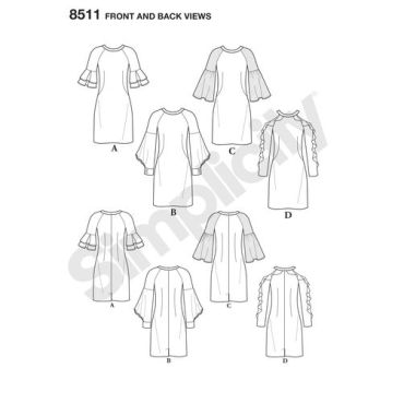 simplicity-shift-dress-pattern-8511-front-back-view