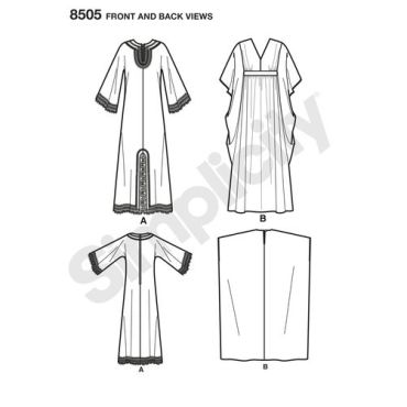 simplicity-vintage-caftan-pattern-8505-front-back-view
