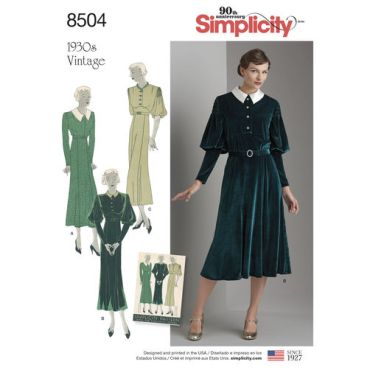 simplicity-vintage-dress-pattern-8504-envelope-front