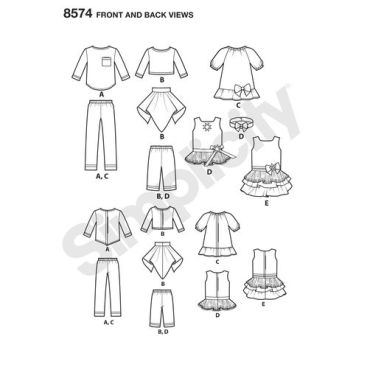 simplicity-14-inch-doll-clothes-pattern-8574-front-back-view
