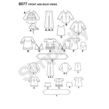 simplicity-1970s-doll-clothes-pattern-8577-front-back-view