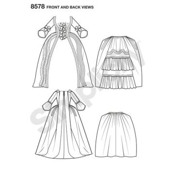 simplicity-baroque-gown-pattern-8578-front-back-view