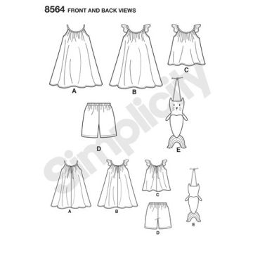 simplicity-child-dress-top-bag-pattern-8564-front-back-view