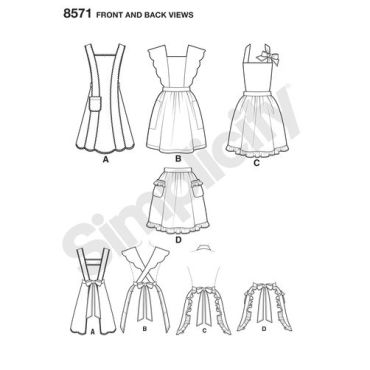 simplicity-craft-1940s-vintage-apron-pattern-8571-front-back-view