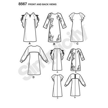 simplicity-girl-sheath-dress-pattern-8567-front-back-view