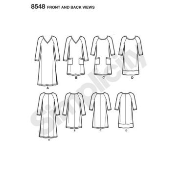 simplicity-knit-dress-learn-to-sew-pattern-8548-front-back-view