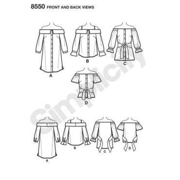 simplicity-off-shoulder-shirt-pattern-8550-front-back-view