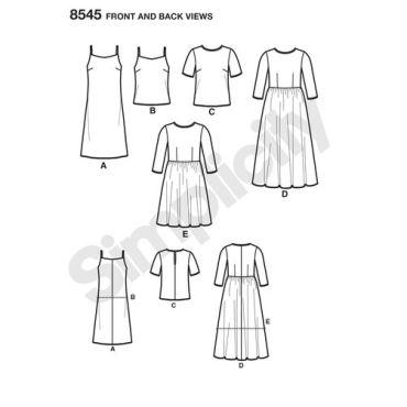 simplicity-sheer-dress-pattern-8545-front-back-view