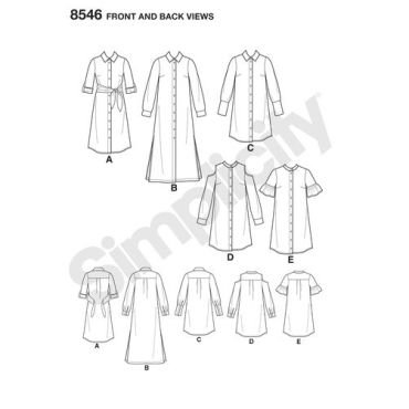 simplicity-shirt-dress-pattern-8546-front-back-view