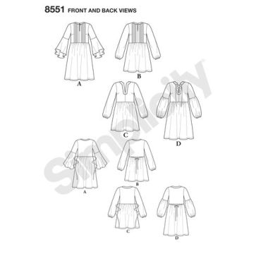 simplicity-tunic-dress-pattern-8551-front-back-view